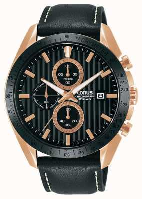 Lorus Bracelet en cuir noir quartz chronographe sport RM308HX9