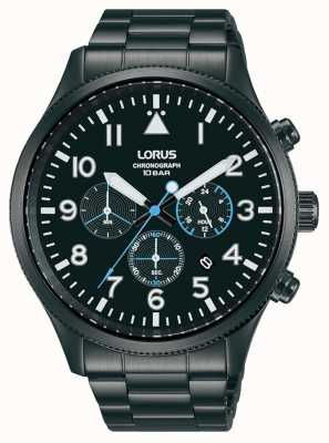 Lorus Chronographe à quartz en acier inoxydable plaqué noir RT361JX9