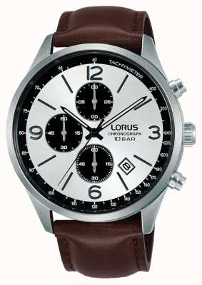 Lorus Chronographe cadran blanc bracelet cuir marron RM321HX9