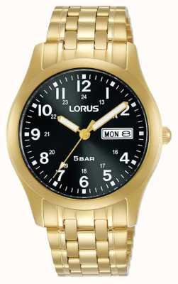 Lorus Montre à quartz classique 38 mm cadran noir or jaune RXN76DX9