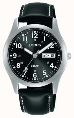 Lorus Montre à quartz classique 38 mm cadran noir bracelet en cuir RXN79DX9