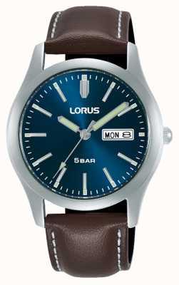 Lorus Montre à quartz classique 38 mm cadran bleu bracelet en cuir RXN81DX9