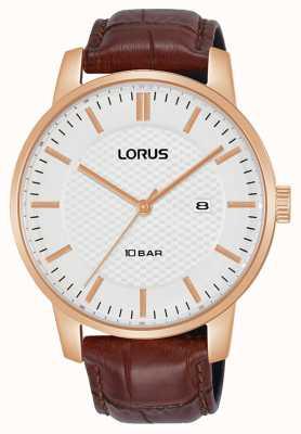 Lorus 42 mm cadran blanc quartz bracelet en cuir marron RH978NX9