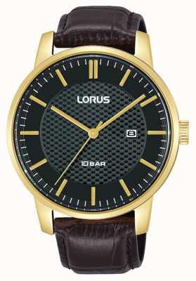 Lorus 42 mm quartz cadran noir bracelet cuir marron RH980NX9