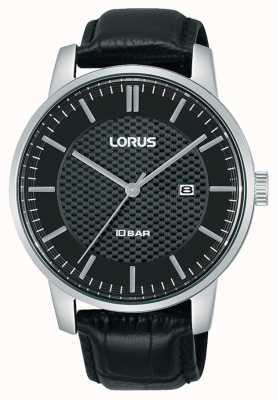 Lorus 42 mm quartz cadran noir bracelet en cuir noir RH981NX9