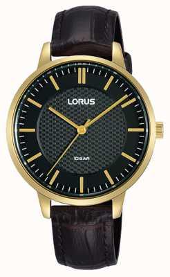 Lorus Bracelet en cuir marron quartz pour femme cadran noir RG276TX9