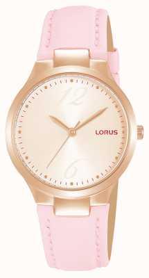 Lorus Bracelet en cuir rose avec cadran soleillé or rose pour femme RG210UX9