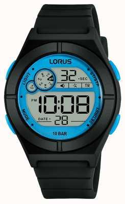 Lorus Montre digitale femme bracelet silicone noir détails bleus R2361NX9