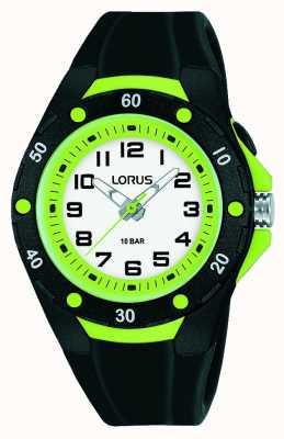 Lorus Bracelet enfant en silicone noir lunette intérieure verte R2375NX9