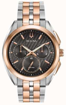 Bulova | courbe | chronographe | cadran noir | bracelet acier bicolore | 98A160
