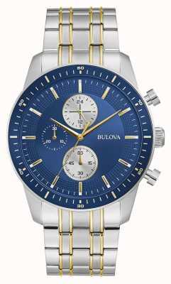 Bulova Sport classique | chrono | cadran bleu | bracelet bicolore 98A243