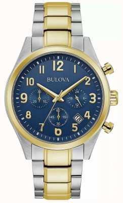 Bulova Chronographe | cadran bleu | bracelet en acier bicolore 98B346