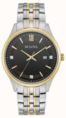 Bulova Hommes | cadran noir | bracelet en acier inoxydable deux tons 98D160