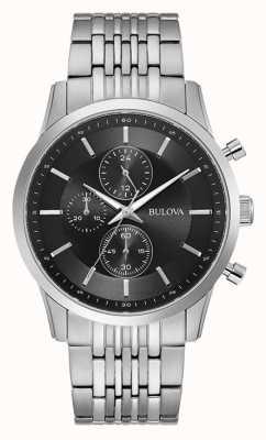 Bulova Chronographe cadran noir en acier inoxydable 96A241
