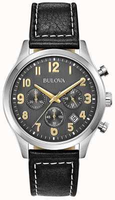 Bulova Chronographe bracelet en cuir noir cadran noir 96B302
