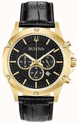 Bulova Chronographe bracelet en cuir noir cadran noir 97B179