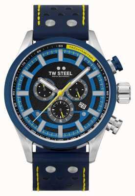 TW Steel Bracelet en cuir bleu Volante Fast lane SVS208
