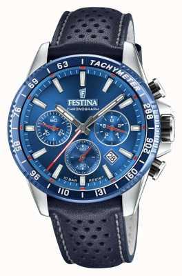 Festina Bracelet en cuir perforé bleu chronographe F20561/3
