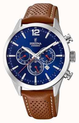 Festina Chronographe cadran bleu bracelet cuir marron F20542/3