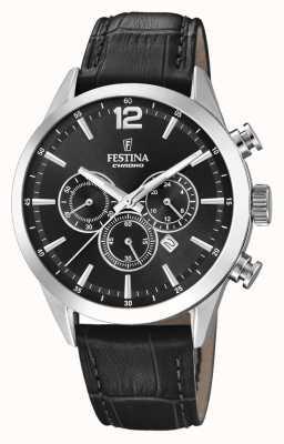 Festina Bracelet chronographe en cuir noir F20542/5