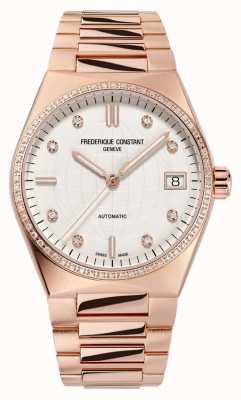 Frederique Constant Highlife des femmes | bracelet plaqué or rose | cadran diamant | sangle supplémentaire FC-303VD2NHD4B