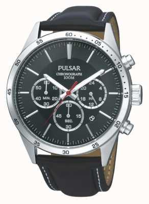 Pulsar Bracelet en cuir noir pour homme PT3009X1