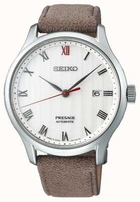 Seiko Montre bracelet cuir marron Presage zen garden SRPG25J1