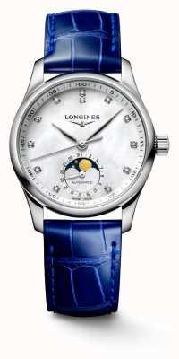Longines Bracelet cuir bleu pour femme Master collection L24094870
