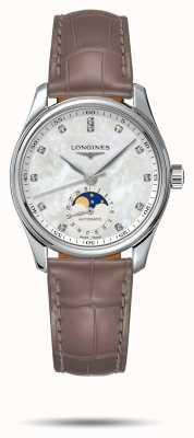 Longines Bracelet femme cuir beige Master collection L24094874