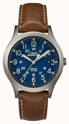 Timex Montre homme expédition scout cadran bleu bracelet cuir marron TW4B11100
