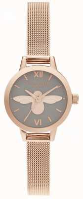 Olivia Burton Montre femme cadran gris abeille 3d & montre en maille d'or rose OB16MC54