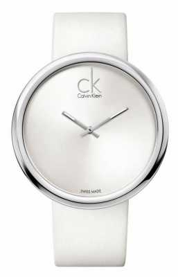 Calvin Klein Dames subtiles cadran blanc bracelet en cuir blanc K0V23120