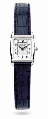Michel Herbelin Art déco | bracelet en cuir bleu pour femme | cadran blanc 17438/22BL