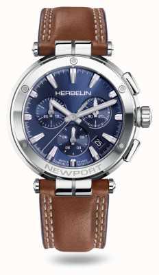 Michel Herbelin Bracelet chrono en cuir marron Newport 37658/AP15GON