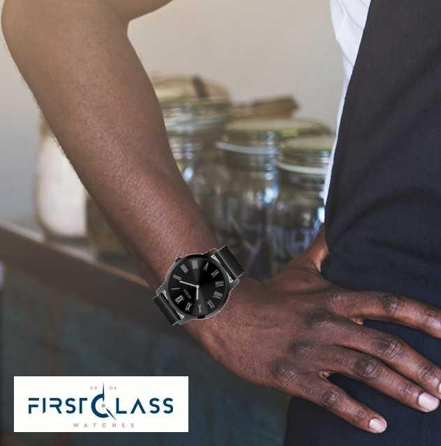 Guess | Mens Richmond | Bracelet En Acier Noir | Cadran Noir